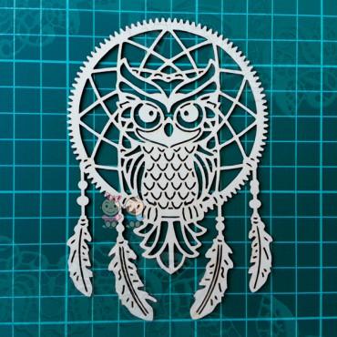 Rz047, Chipboard 'Dreamcatcher - Owl'