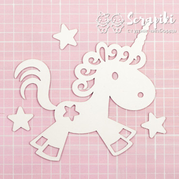 1600EM, Blank for embossing 'Unicorn and stars' 1.55 mm