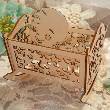 3D04, Chipboard 'Crib with Baby 3D'