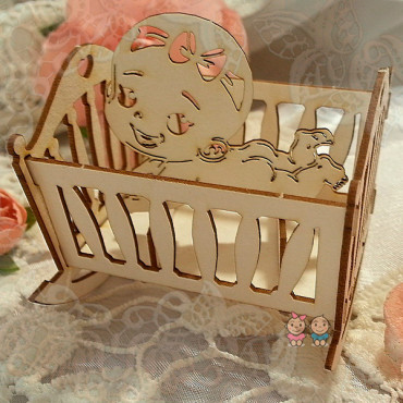 3D05, Chipboard 'Crib with Baby 3D'